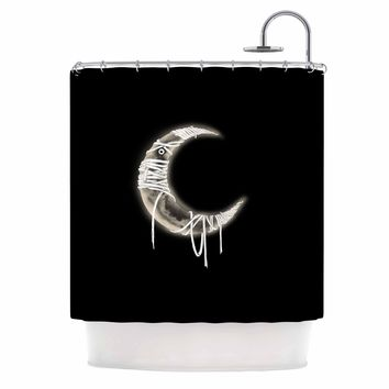 "BarmalisiRTB ""Mummy Moon"" Black White Digital Shower Curtain"