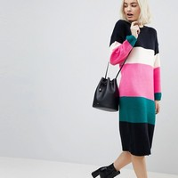 ASOS Chunky Knitted Dress in Stripe at asos.com