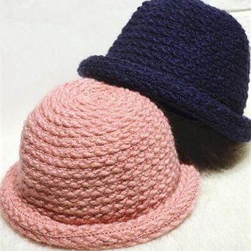 VONG2W BomHCS Cute Women Dome Curling Meatball Hat Autumn Winter Warm Handmade Knitted Beanie Fisherman Hat Formal Hat Cap