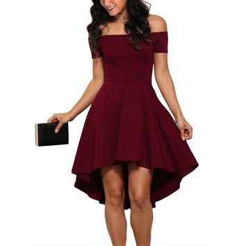Women's Elegant Slash Off The Shoulder Red NYE Party Skater Dress