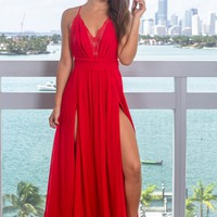 Red Maxi Dress with Criss Cross Back and Lace Detail
