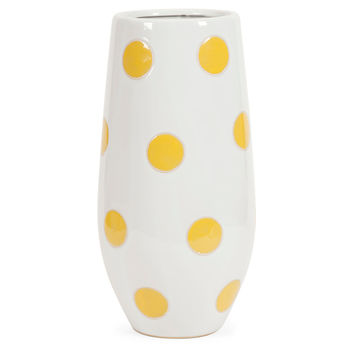 "16"" Polka-Dot Vase, White/Yellow, Vases"