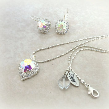 Swarovski crystal heart pendant necklace, Crystal AB, bridal necklace, siggy design, Great Price