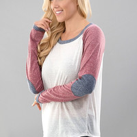 Baseball Tee - Ivory, Pink, and Blue