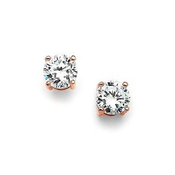 14K Rose Gold 2CT Round Cut Russian Lab Diamond Solitaire Stud Earrings