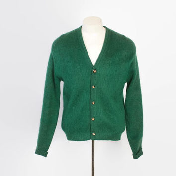 Vintage 60s MOHAIR CARDIGAN / 1960s Shaggy Emerald Green Wool Blend Sweater M
