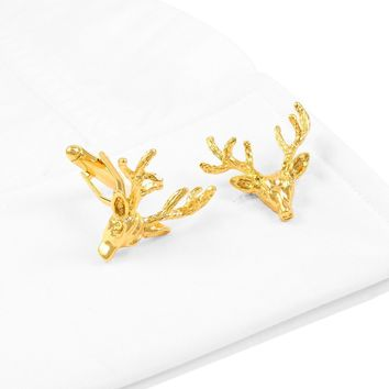 Golden Elk Head Cufflinks Christmas Sleeve Nail Business Men's Dress French Blouse Cuffs Blouse