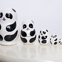 Set of 5 Cutie Lovely Mini Panda Bear Nesting Dolls Matryoshka Madness Russian Doll Popular Handmade Kids Girl Gifts Toy