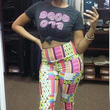 "NEW ""KAYA""  Pink Kente African Print High Waist Active Leggings. Made- to OrderNEW ""KAYA"""