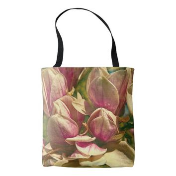 Yellow Magnolia Flowers All Over Print Tote Bag