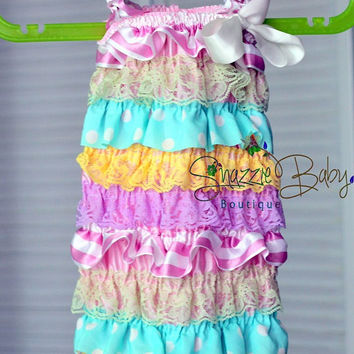 Easter Girl Outfit..lace romper..birthday outfit..pastel colors petti romper..tea party..newborn coming home lace romper..baby girl romper