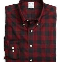 Men's Non-Iron Slim Fit Red Plaid Sport Shirt