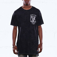 Clockin Elongated Mineral Wash T Shirt Black