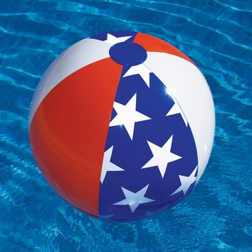 "22"" Water Sports Classic Inflatable Patriotic Americana Stars & Stripes Swimming Pool or Beach Ball"