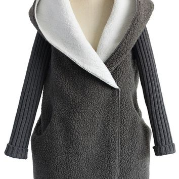 Shearling Oversized Hooded Coat in Grey