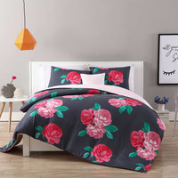 VCNY Home Rosemary Comforter Set in Charcoal/Rose