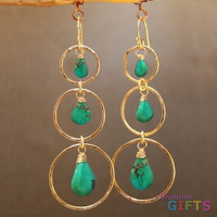 "Hammered circles with green turquoise, 3"" Earring Gold Or Silver"