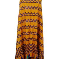 Women's Vintage Wrap Skirt Two Layer Vintage Sari Reversible Beach Dress (Yellow)