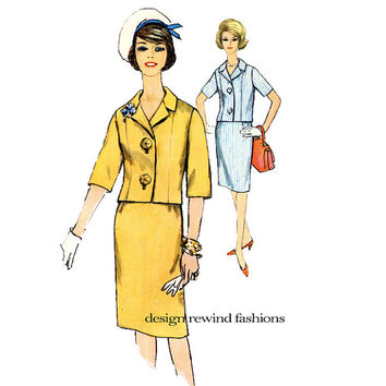 Simplicity 4815 JACKET & SKIRT PATTERN Two Piece Suit Big Button Jackie Kennedy Style Half Size 16 1/2 Bust 37 UNCuT Womens Sewing Patterns