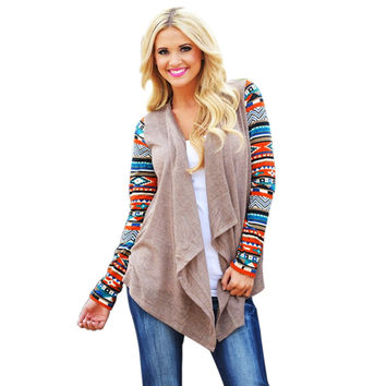 Women Long Cardigan 2017 Long Sleeve Knitted Poncho Sweater Coat Casual Tribal Print Asymmetrical Cardigans Outwear Pull Femme