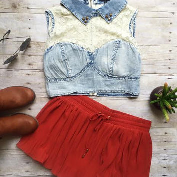 Denim Lovely Lace Top