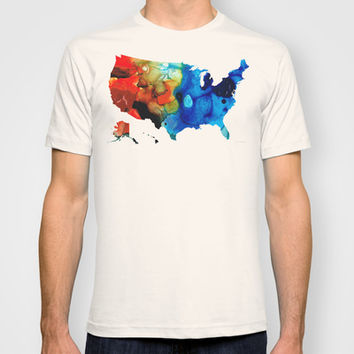 United States of America Map 4 - Colorful USA T-shirt by Sharon Cummings