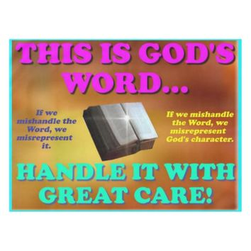 This is God's word...Handle it with great care! Tablecloth