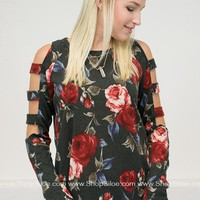 Charcoal Rose Ladder Top