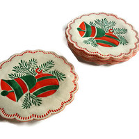 Christmas Paper Coasters . Holiday Cocktails Drink . Party Supplies Red and Green .