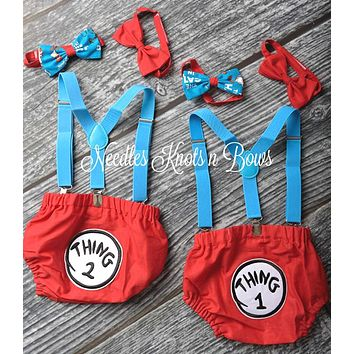 Twin  Boys Cake Smash Set, Thing 1 & Thing 2 Cake Smash Set, Twin Boys Dr. Suess Birthday