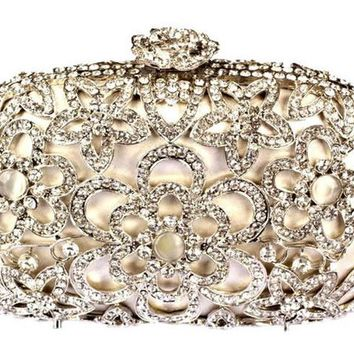 Gold and Silver Clutch Bag with Metal Chain for Women Bag Evening Clutch Purse Hollow Out Design with Crystals
