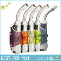 Portable elbow ignition jet butane torch gas lighters Mini windproof men's cigarette lighters recycling refillable