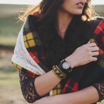 Wrap Leather Watch in Black