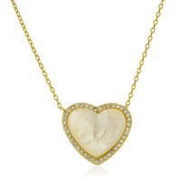 925 Sterling Silver Goldtone White Opal Heart Pendant with Cz Stones and 16 Inch Link Necklace