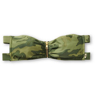 Obey Wasted Years Camo Zip Bandeau Bikini Top
