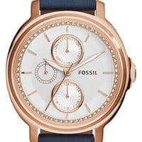 Women's Fossil 'Chelsey' Crystal Bezel Multifunction Leather Strap Watch, 39mm - Navy/ Rose Gold