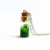 Miniature Terrarium Necklace, Glass Bottle Pendant, Dried Flower Jewelry, Nature Inspired, Botanical Jewelry, Tiny Flowers, Woodland Jewelry