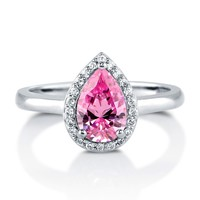 Sterling Silver Pear Pink Cubic Zirconia CZ Halo Ring 1.44 ct.tw3 Review(s) | Write A ReviewSKU# R847-PK