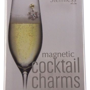 Going Stemless Christmas Holiday Magnetic Cocktail Charms Set 6 Candy Cane Tree Wine Drinks