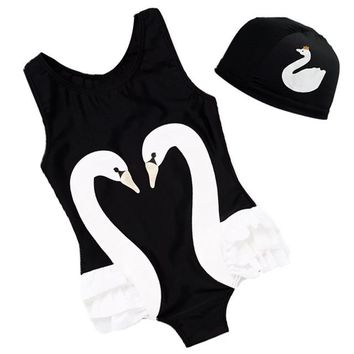 One Piece Bathing Suit Kid Swimwear With Hat S-4XL Size Baby Swimsuit Parrot Swan Flamingo Animal Printing  Bikini Summer Wear SCL198 KO_9_1
