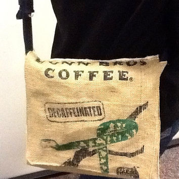 Burlap messenger bag, burlap bag, burlap coffee bag, iPad bag