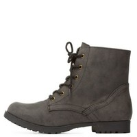 Low Profile Combat Booties by Qupid at Charlotte Russe