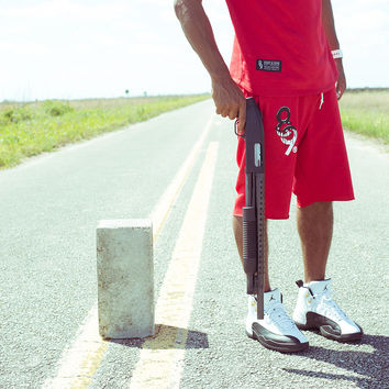 Drip Keys Cut Off Terry Shorts Red