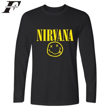 Smiley Face KURT COBAIN Long Sleeve Men Shirt Autumn Popular Band Tee Shirt Men Casual Fashion NIRVANA Tshirts Cotton Men 4XL
