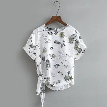 2017 new women vintage short sleeve print blouses shirts retro pullover tops round collar bow tied casual brand blusas SB1021