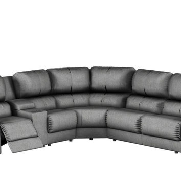 Large Recliner True Sectional Fabric Sleeper Sofa with Console