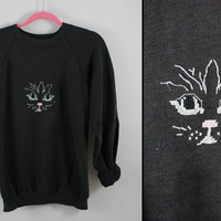 vintage black stitched cat face sweatshirt  >>Adult X Large<<