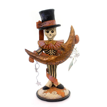 Halloween Skeleton With Moon Carving Halloween Figurine
