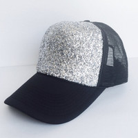 Black and Silver Glitter Hat