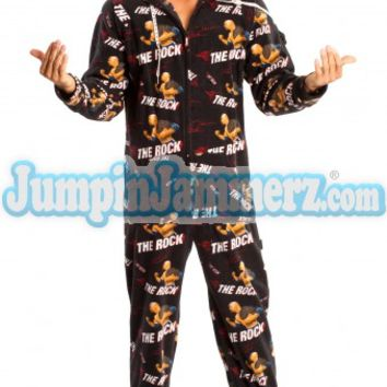 WWE The Rock Wrestlers Pajamas Footie PJs One Piece Adult Pajamas - JumpinJammerz.com